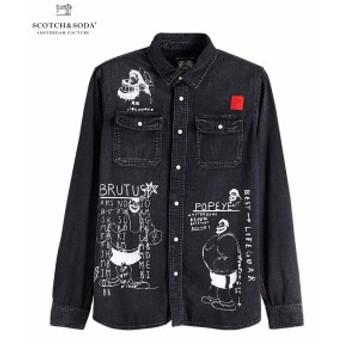 送料無料 スコッチ&ソーダ シャツ ◆ SCOTCH&SODA Illustrated Denim Shirt Brutus ウォッシュドブラックデニム 282-81411 メンズ トップ