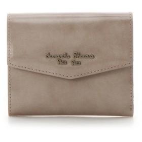 サマンサタバサプチチョイス アンティークガラスレザーシリーズ 折財布 ベージュ