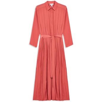 《セール開催中》TOPSHOP レディース ロングワンピース&ドレス パステルピンク 8 ポリエステル 100% SATIN PLEAT SHIRT DRESS