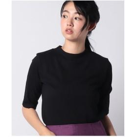 Petit Honfleur テレコボーダーモックネックTシャツ(ブラック)【返品不可商品】