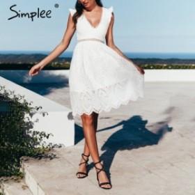 [送料無料]夏ドレス 半袖 レーストップス 穴あき くり抜き 夏 背中 セクシー パーティードレス