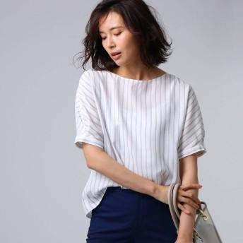 アンタイトル UNTITLED [L]【洗える】クルーズストライプスクエアシャツ (オフホワイト)