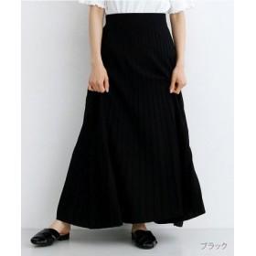 (merlot/メルロー)ストライプフレアニットスカート/レディース ブラック