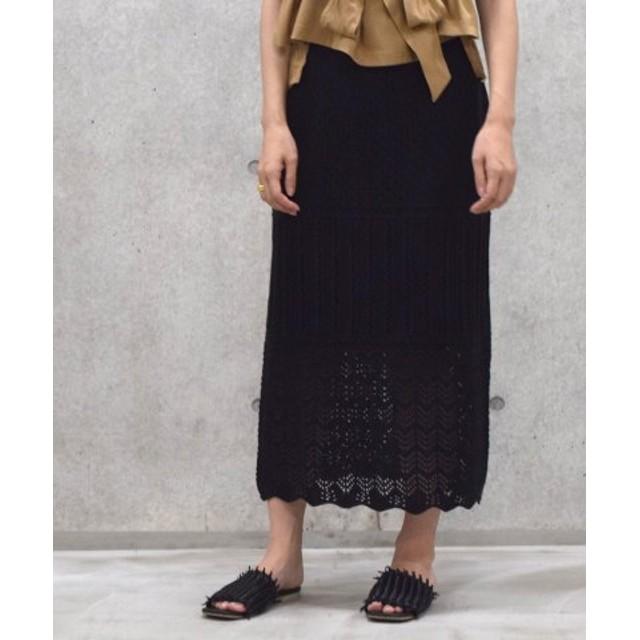 (w closet/ダブルクローゼット)7Gニットスカート/レディース ブラック