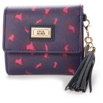 セシルマクビー CECIL McBEE ブレンダシリーズ レオパード柄三つ折り財布 (ネイビー)