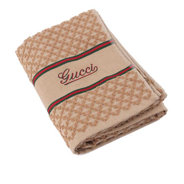 【GUCCI】GUCCI駝色 綠紅綠 GGlogo 毛巾 GU75000027