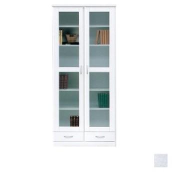 本棚 扉付き 白 日本製 ブックシェルフ おしゃれ 幅80 キャビネット 収納 書棚 リビングボード ガラス扉   開梱設置無料