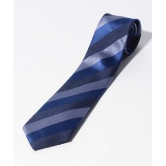 (COMME CA ISM/コムサイズム)メランジブルー レジメンタルストライプ ネクタイ/メンズ ブルー