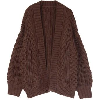 ティティベイト titivate ケーブル編みゆったりカーディガン (ブラウン)