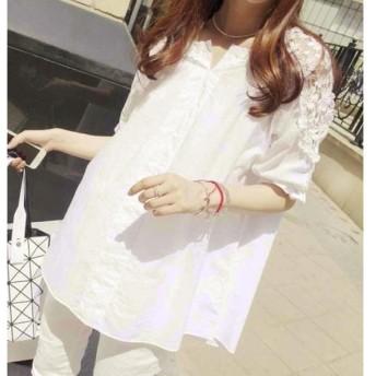 可愛い韓国風ファッション/レディースブラウス/半袖 レースTシャツ/シャツ