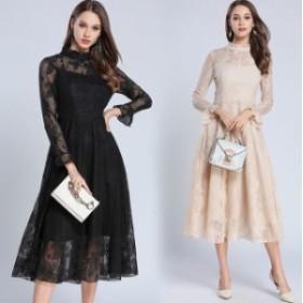 大きいサイズ ドレス 長袖 白 総レース 黒 結婚式 二次会 レディース 華やか 同窓会 パーティー ワンピース