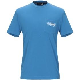 《期間限定セール開催中!》LOVE MOSCHINO メンズ T シャツ アジュールブルー M コットン 95% / ポリウレタン 5%