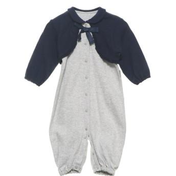 コムサイズム COMME CA ISM 羽織り付き 長袖 ツーウェイオール(50-70サイズ) (ライトグレー)
