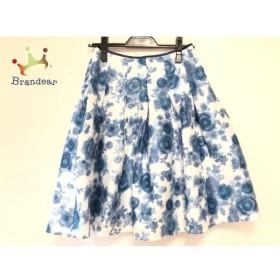 エムズグレイシー M'S GRACY スカート サイズ35 レディース 白×ブルー×ネイビー 花柄 新着 20190728