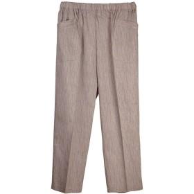 綿楊柳8分丈パンツ 綿100% シニア レディース 婦人ズボン 日本製 3ライトブラウン LL
