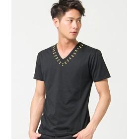 【35%OFF】 シルバーバレット CavariAスタッズ付きVネック半袖Tシャツ メンズ ブラック系1 44(M) 【SILVER BULLET】 【セール開催中】