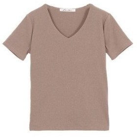 コウベレタス KOBE LETTUCE 前身二重半袖Tシャツ【Vネック】 (グレージュ)