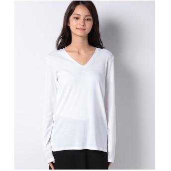 ベネトン(レディース) コットンVネック袖ロゴ刺繍ロングTシャツ・カットソー(ホワイト)