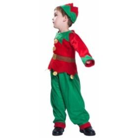 キッズ クリスマス イベント 女の子 グリーン 3点セット 衣装 なりきり 男の子 パーティー 男女兼用 ピエロ お揃い コスプレ ピーターパ