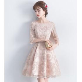 ドレス ミニ 大きいサイズ 上品 結婚式 お呼ばれ 二次会 パーティー 袖あり レディース 体型カバー 総レース