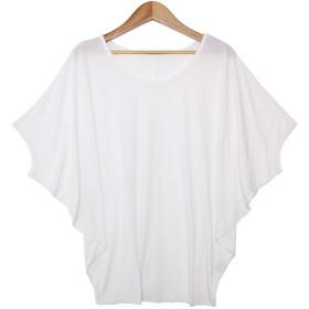 ソーシャルガール Social GIRL ゆるリラックス ワイドスリーブドルマンTシャツ (puホワイト)
