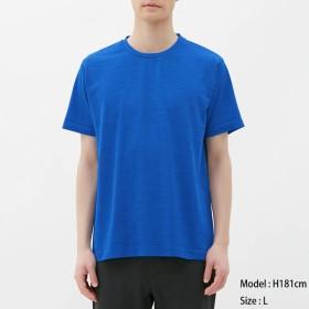 (GU)サイドシームレスクルーネックT(半袖)GS BLUE S