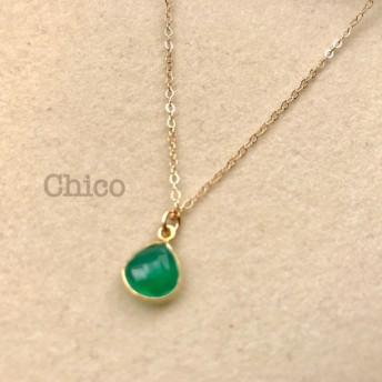 【14KGF】枠留めグリーンオニキスのシンプルネックレス*宝石質*華奢