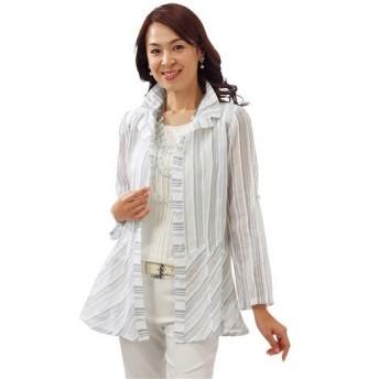 【レディース】 シルク綿ストライプ柄ブラウスジャケット - セシール ■カラー:ホワイト ■サイズ:L
