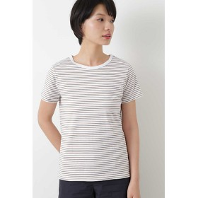 【SALE(三越)】<HUMAN WOMAN/ヒューマンウーマン> 50/2新きょう綿 ボーダーTシャツ(0778960303) 052ブラウン【三越・伊勢丹/公式】