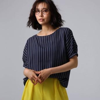 アンタイトル UNTITLED [L]【洗える】クルーズストライプスクエアシャツ (ネイビー)