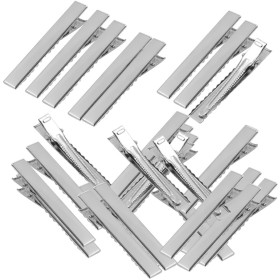Non-brand 50個のフラットヘアクリップシングルプロングアリゲーターの歯バレットスナップブランクアクセサリー - 56mm