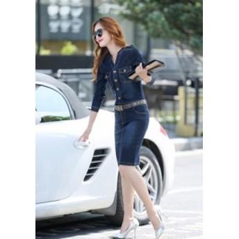 レディース タイト 膝丈 シャツ スリット デニム 韓国 セクシー 長袖 ミニ 大きいサイズ コーデ ワンピース