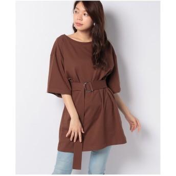 DAISY MERRY ベルト付チュニックTシャツ(ブラウン)