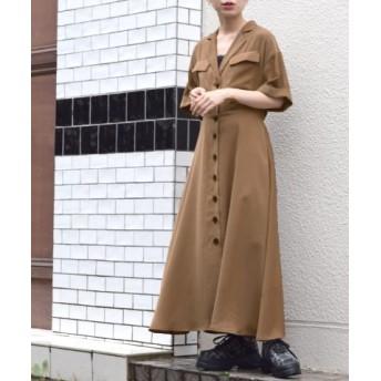 (w closet/ダブルクローゼット)テーラー衿5分袖フレアワンピース/レディース ブラウン 送料無料
