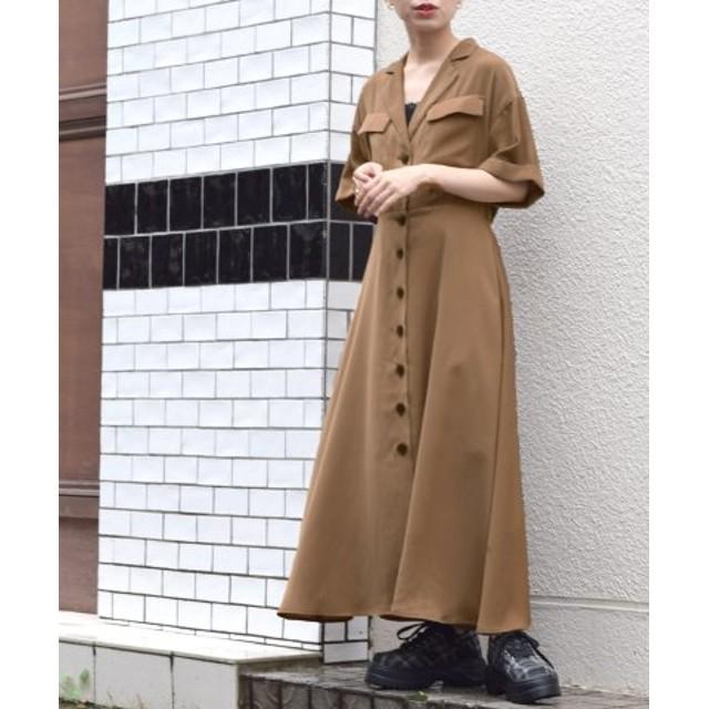 (w closet/ダブルクローゼット)テーラー衿5分袖フレアワンピース/レディース ブラウン