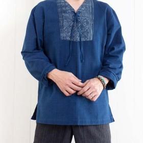 ジョムトン手織り綿&モン族バティッククルタ 長袖プルオーバーシャツ