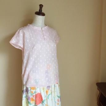 【小さいサイズ】サーモンピンクの播州織ガーゼシャツ