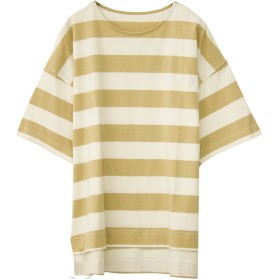 ソーシャルガール Social GIRL スリットオーバーサイズボーダービッグシルエットTシャツ (ベージュ)
