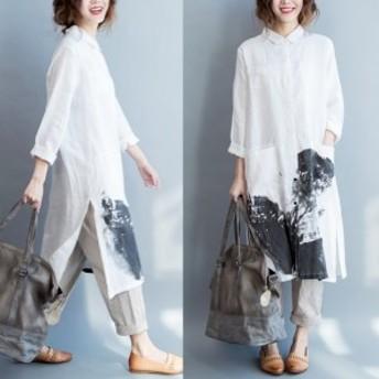 ワンピース ロング 綿 麻 水墨画 長袖 大きいサイズ 白 レディース 秋 ワンピース