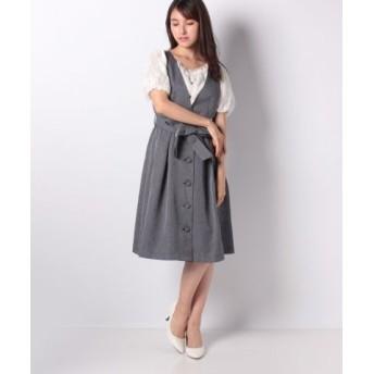 (axes femme/アクシーズファム)リボン付きジャンパースカート/レディース グレー 送料無料