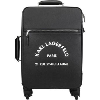 《セール開催中》KARL LAGERFELD レディース キャスター付きバッグ ブラック ポリ塩化ビニル 92% / 牛革 4% / ポリウレタン 4% RUE ST GUILLAUME TROLLEY