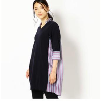 【Gabardine K.T:ワンピース】マルチストライプ柄ニットドッキングシャツチュニック