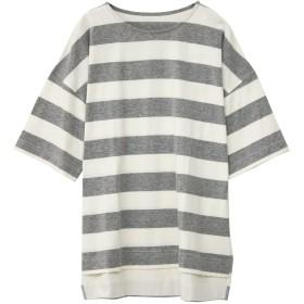 ソーシャルガール Social GIRL スリットオーバーサイズボーダービッグシルエットTシャツ (グレー)