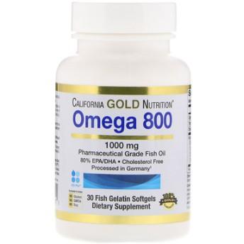 オメガ800、医薬グレードフィッシュオイル、80%EPA / DHA、トリグリセリド形態、ドイツ加工品、コレステロールフリー、1000mg、30魚ゼラチンソフトゲル