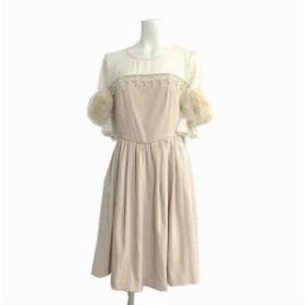 【中古】リリーブラウン Lily Brown ワンピース ひざ丈 フレア 五分袖 装飾 ビジュー フェイク ファー ベージュ 0 レディース