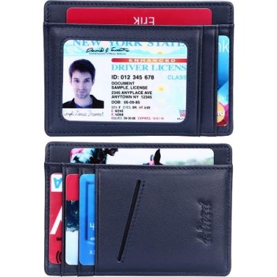 《Kinzd》真皮防盜證件卡夾(深藍)