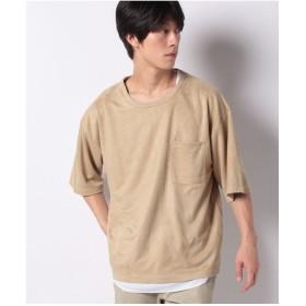 WEGO WEGO/【2点セット】フェイクスウェードアンサンブルTシャツ(キャメル)【返品不可商品】