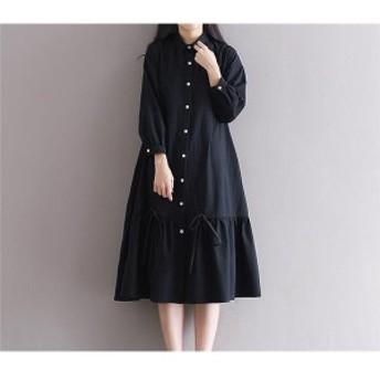 ワンピースカバーオール長袖ロング丈体型カバーゆったりシャツ素材 大きいサイズ ファッション女性オシャレ春秋