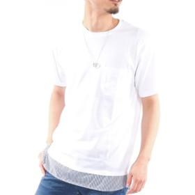 アクセサリー付きフェイクレイヤード半袖Tシャツ Tシャツ・カットソー