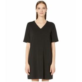 エイリーンフィッシャー レディース ワンピース トップス Organic Cotton Stretch Jersey V-Neck 3/4 Sleeve A-Line Dress Black